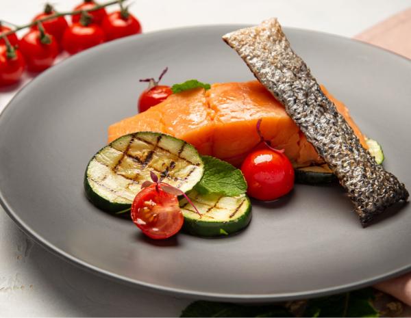 Fish & Schrimps: Креветки, Семга и Лимонный тарт